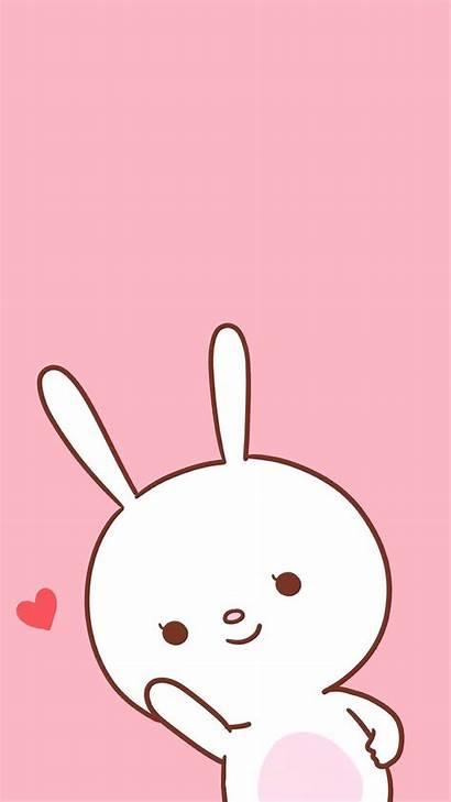 Kawaii Wallpapers Emoji Pink Iphone Bunny Cartoon