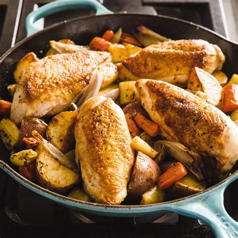 cast iron pan roasted chicken breasts  root vegetables