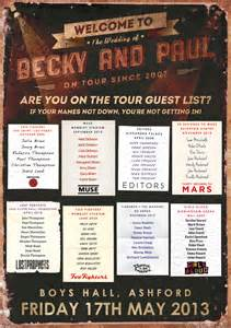 wedding seating chart ideas concert tour poster wedding guest list wedfest
