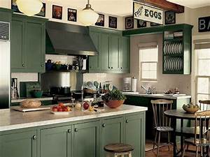 kitchen dark green kitchen cabinets painting green With best brand of paint for kitchen cabinets with old map wall art