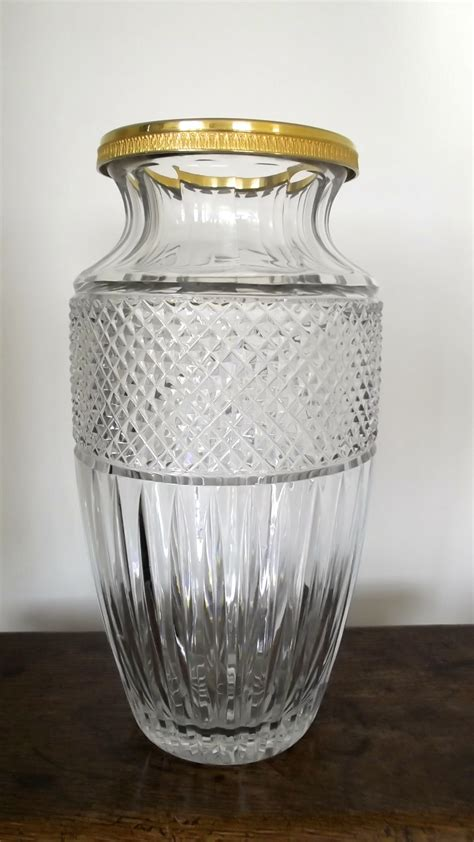 glass vase with top large 19th century cut glass vase with gilded metal