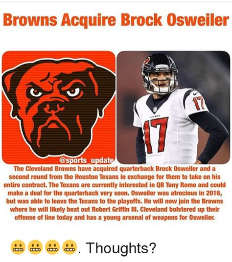 Brock Osweiler Memes - browns acquire brock osweiler updat the cleveland browns have acquired quarterback brock