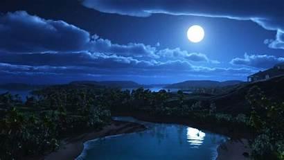 Paisaje Luna Fondo Nocturno Pantalla Llena Fondos