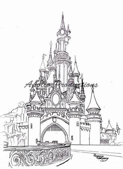 Castle Sleeping Beauty Drawing Disney Disneyland Paris