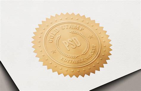 gold certificate stamp mockup medialoot