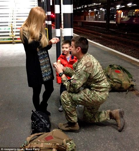aboard  love train soldier proposes  girlfriend