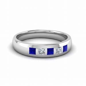 5 stone flush set diamond wedding band for men with blue for Mens wedding ring with blue diamonds