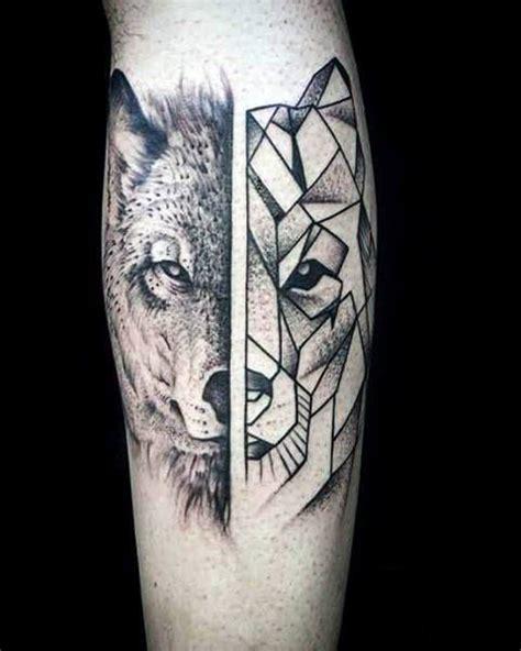 geometric wolf tattoo designs  men manly ink ideas tattoos geometric wolf tattoo