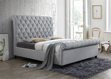 crown mark kate gray upholstered bed  furniture place
