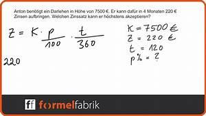 Effektiven Zinssatz Berechnen : zinsrechnung zinssatz berechnen textaufgabe nr 3 youtube ~ Themetempest.com Abrechnung