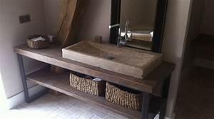 vasque de salle de bain en pierre carrelage salle de bain With salle de bain avec vasque en pierre