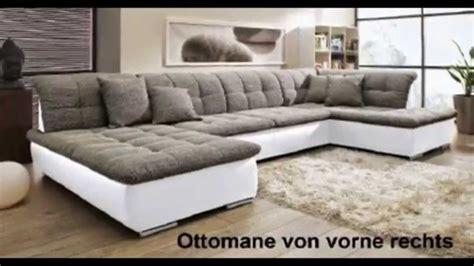 U Wohnlandschaft Sofa Couch Wohnzimmer Strukturstoff Leder