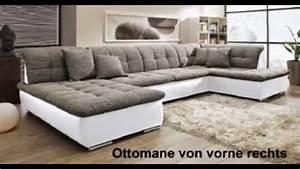 U wohnlandschaft sofa couch wohnzimmer strukturstoff leder for Wohnzimmer couch