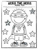 Zero Hero Coloring Kindergarten Number 100th Roll Math Fun Superhero Activities Preschool Dice Addition Sketchite Heroes Template Sketch Teaching Numbers sketch template