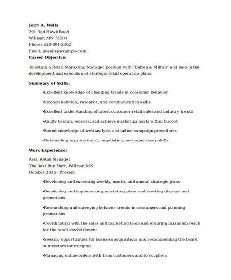 marketing resume exles 47 free word pdf documents
