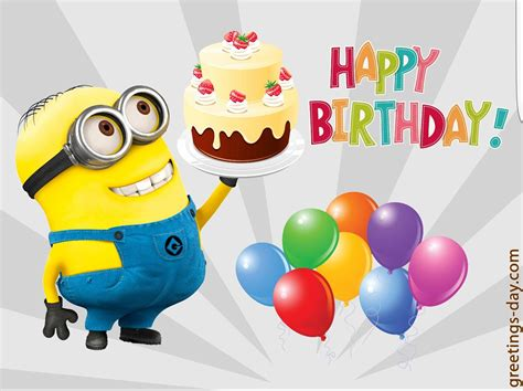 Happy birthday! Minion with chocolate cake and vanilla ...