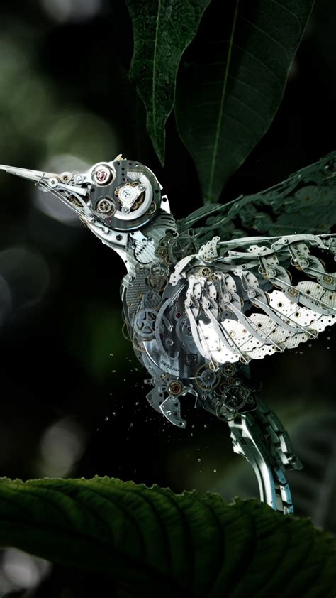 Mechanical Animals Wallpaper - wallpaper hummingbird сolibri steunk flower leaves