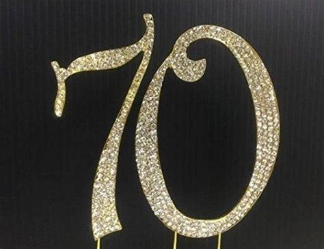 large 70th birthday anniversary number 70 gold rhinestone cake topper silver gold numbers