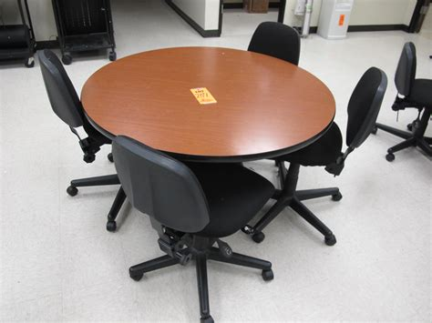 dining table with 4 adjustable rolling chairs