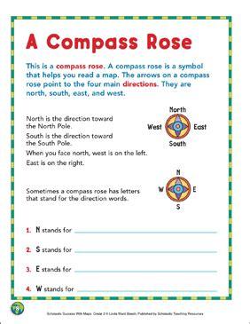 compass rose map skills printable maps  skills sheets