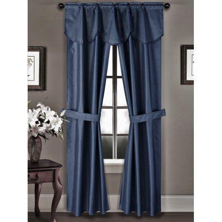 navy blue curtains walmart 5pc navy blue rod pocket faux silk room darkening blackout