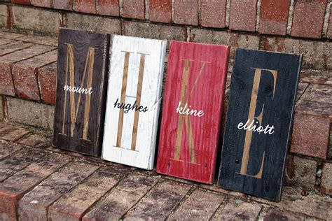 monogram    overlay painted wood sign signs  andrea