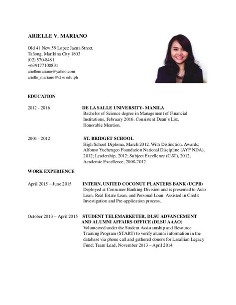 Dlsu Resume Template by Resume Mariano Arielle V