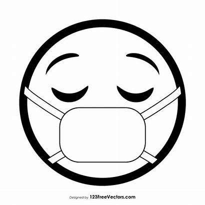 Mask Emoji Face Medical Outline Vector Coloring