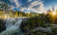 Sunset Waterfall Landscapes