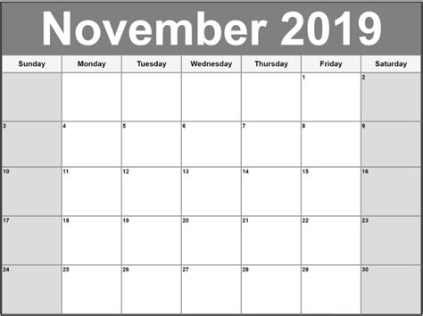 Calendar Template 2019 November 2019 Calendar Calendar