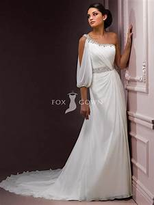 chiffon sheath one shoulder wedding dress with natural With natural waist wedding dress