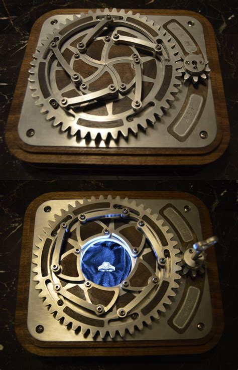 custom engagement ring box with locking mechanical iris see and more below mechanical