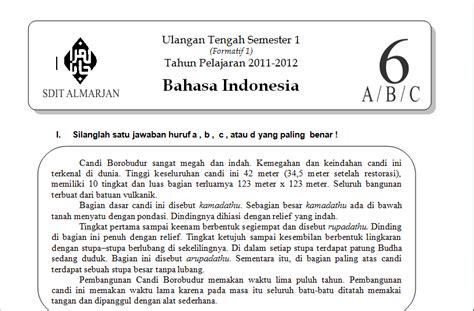 soal bahasa indonesia kelas 6 sd uts semester 1 2011 2012 guru mau belajar