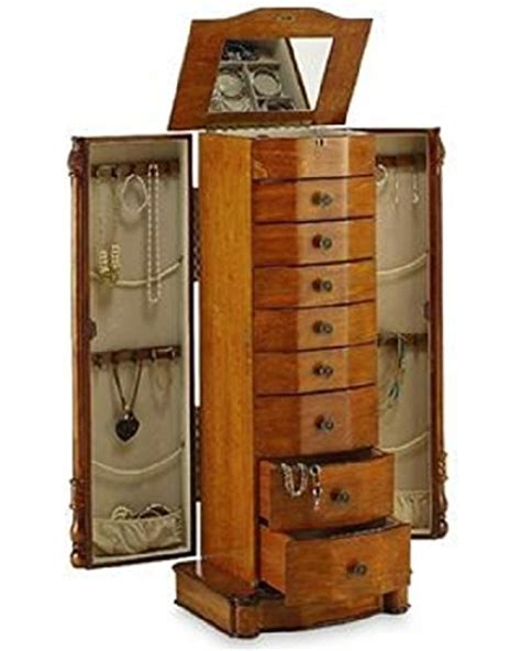 Large Mirror Jewelry Armoire by Large Floor Standing 8 Drawer Wooden Jewelry Armoire With