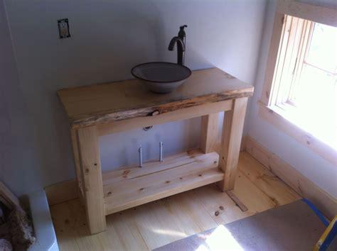 handmade rustic pine vanity  vessel sink  wooden