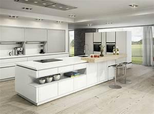 50 idees d39ilot central cuisine blanc de design moderne With modele cuisine ilot central