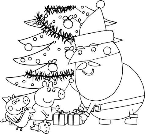 disegni da colorare e stare peppa pig disegno di babbo natale consegna i regali a peppa e george