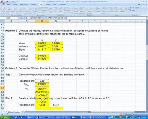 week  spreadsheet  worksheet efficient frontier