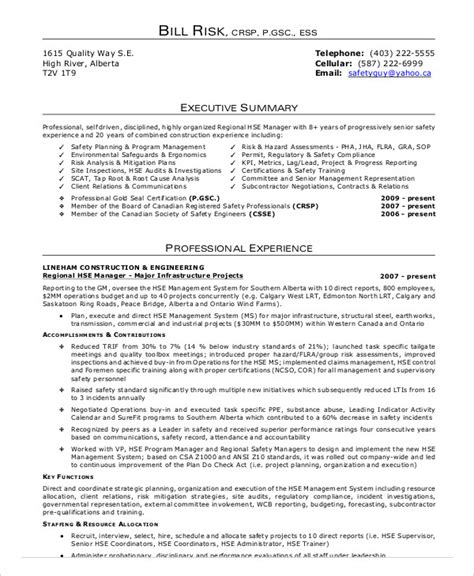 Construction Safety Manager Resume Sle by Professional Hse Officer Templates To 28 Images Safety Officer Resume Health Sle Template