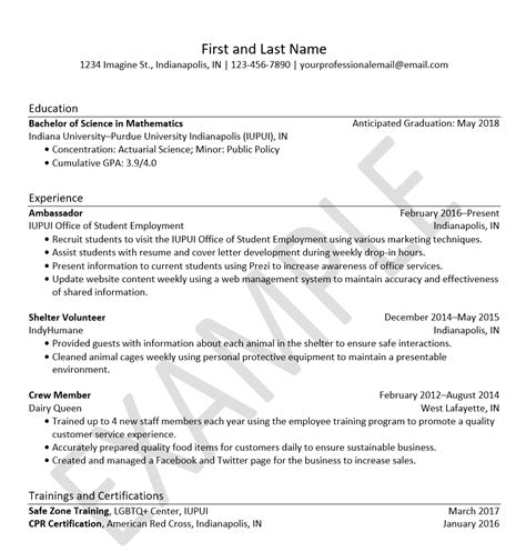 Employment Resume by Resumes Resources Office Of Student Employment Iupui