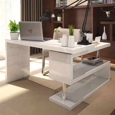 k b ho2960 wh computer x desk white high gloss rotating office desk furniturebox