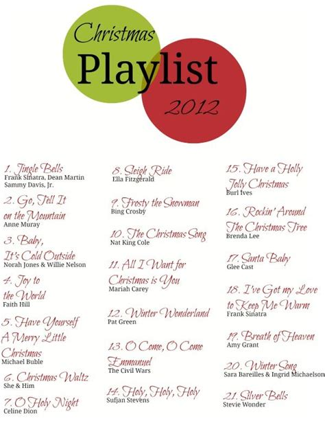 christmas playlist 2012 christmas pinterest