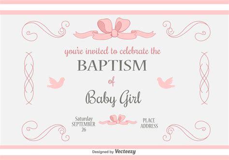 Baby Girl Baptism Vector Invitation Download Free