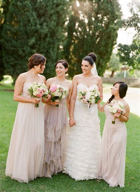 neutral bridesmaids bridal parties wearing neutral