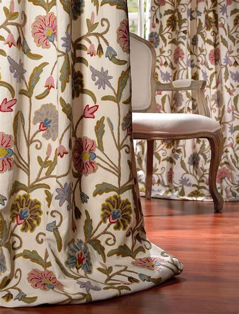 Buy Drapes by Buy Marlow Embroidered Cotton Crewel Curtain Drapes