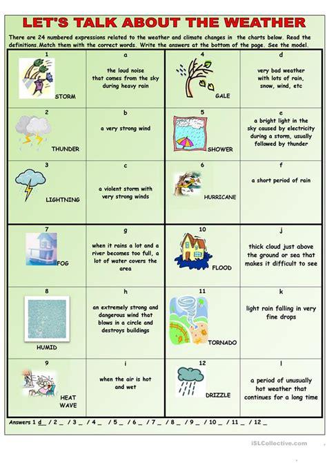 lets talk   weather worksheet  esl