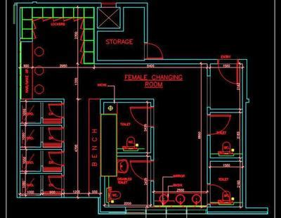 swimming pool changing room dwg layout plan autocad dwg