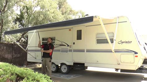 operate  rv manual awning youtube