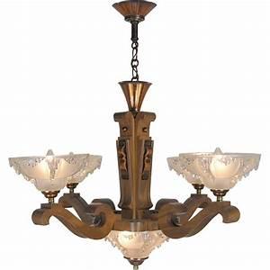 Art deco ezan style french wooden chandelier ceiling light
