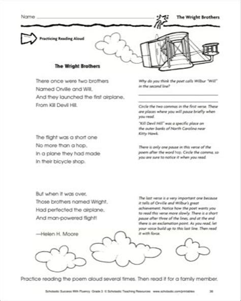 the wright brothers fluency building practice pages